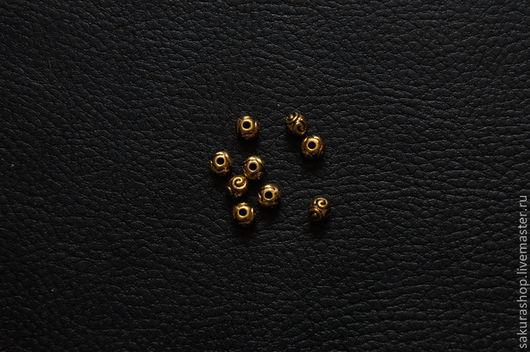 """Для украшений ручной работы. Ярмарка Мастеров - ручная работа. Купить Бусина """"спираль"""" золото 6х5 мм. Handmade. Золотой"""