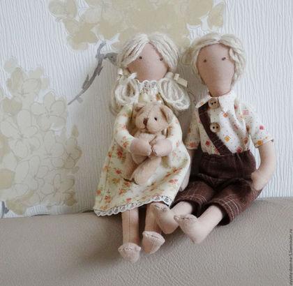 Куклы для игры текстильные, мальчик и девочка, ручная работа.