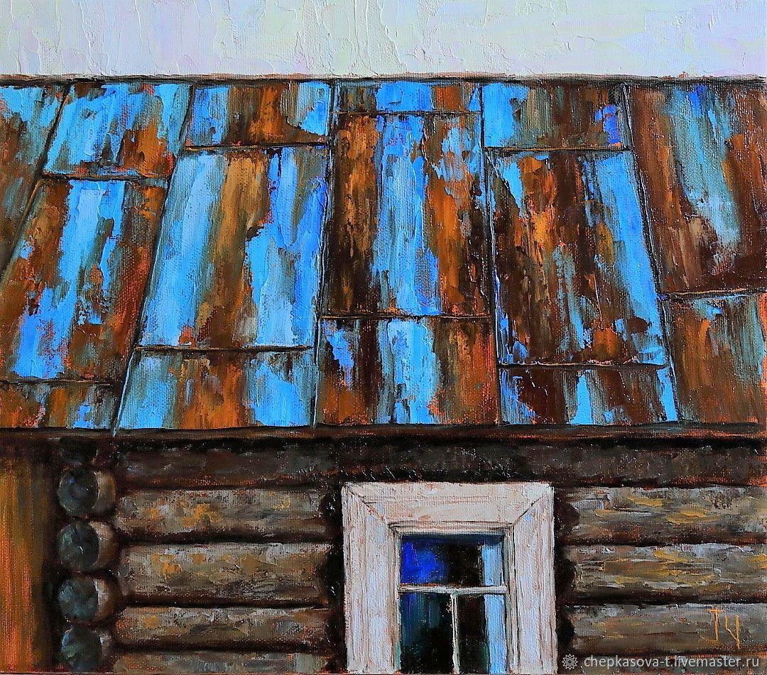 «Деревенская мозаика». Крыша. Картина маслом 35х40 см, Картины, Москва,  Фото №1