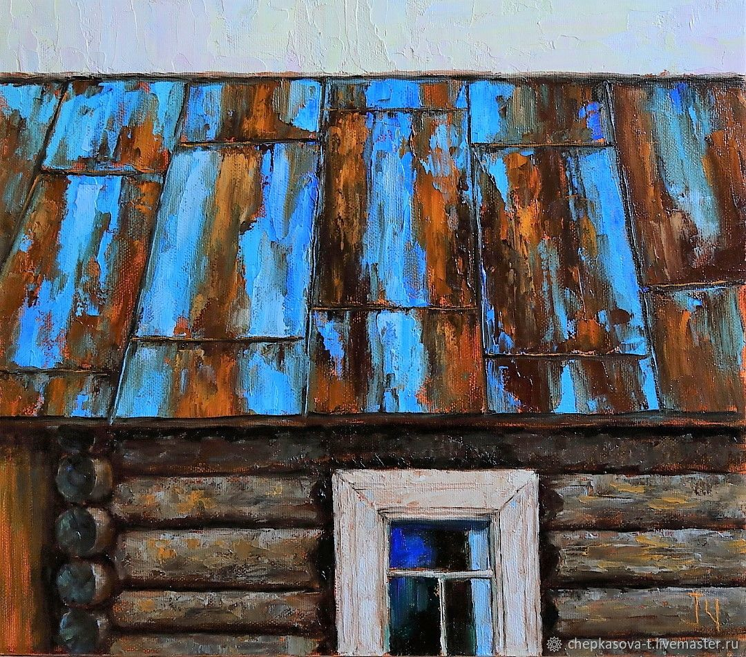 'Village mosaic». Roof. Oil painting 35h40 cm, Pictures, Moscow,  Фото №1