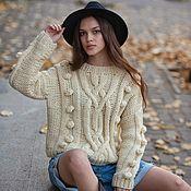 Одежда handmade. Livemaster - original item Jerseys: Women`s oversize wool sweater in milk color. Handmade.