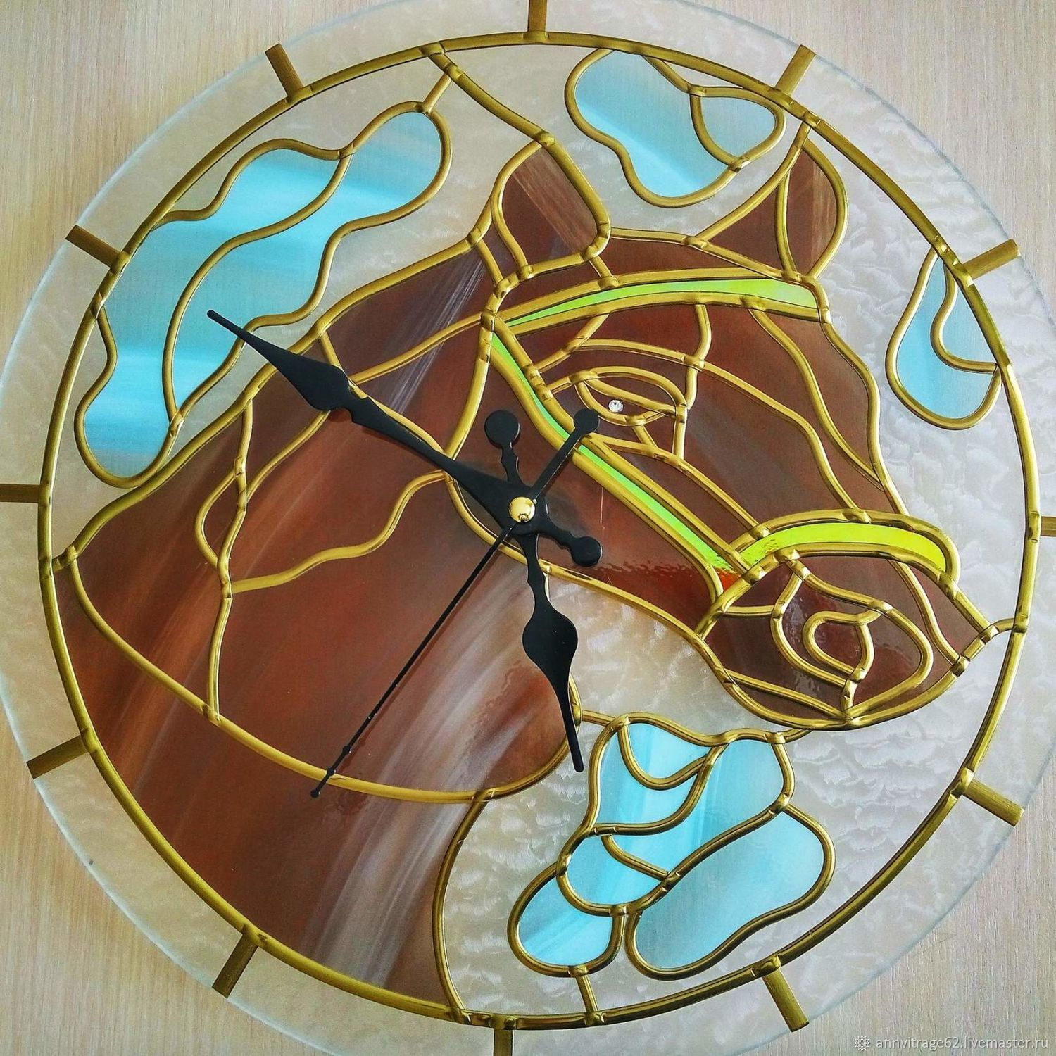 Stained glass clock 'Horse', handmade, Watch, Shilovo,  Фото №1