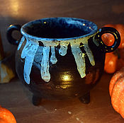Посуда handmade. Livemaster - original item Witch`s Cauldron with blue potion. Handmade.