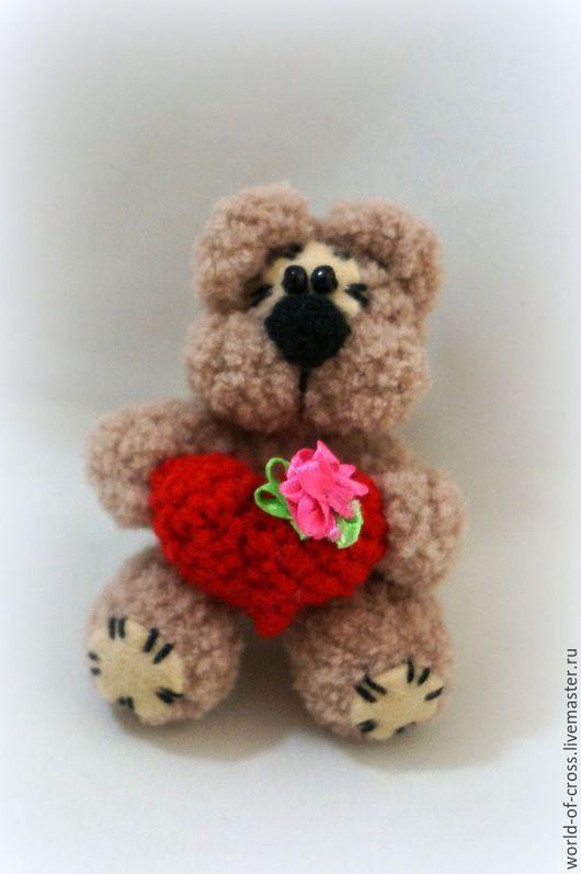 Игрушки животные, ручной работы. Ярмарка Мастеров - ручная работа. Купить Медвежёнок с сердечком. Handmade. Комбинированный, мишка ручной работы