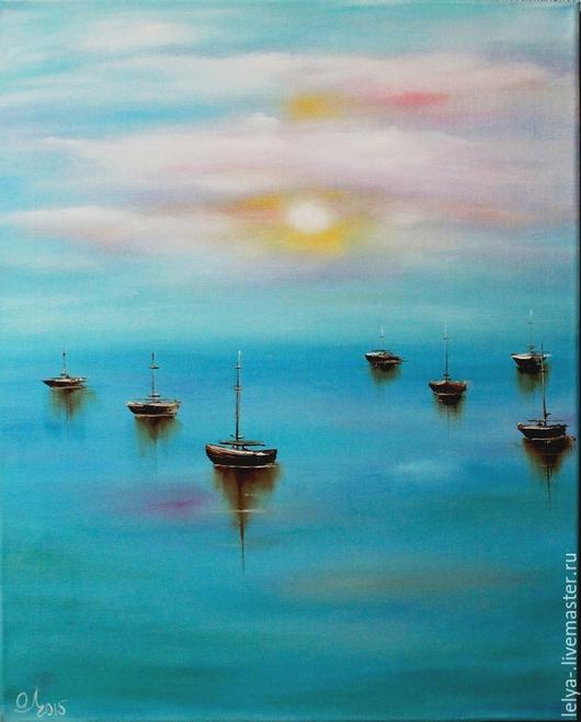 Пейзаж ручной работы. Ярмарка Мастеров - ручная работа. Купить Картина маслом  Безмятежное море. Handmade. Картина, светлая картина