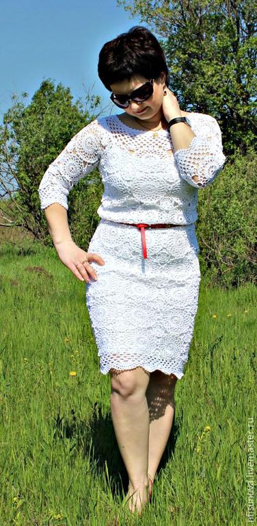 Свяжу на заказ любое платье, предложенное Вами, а также юбки, пляжные туники и пр.