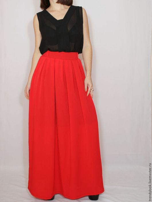 Юбки ручной работы. Ярмарка Мастеров - ручная работа. Купить Красная юбка из шифона,юбка с карманами, юбка в пол. Handmade.