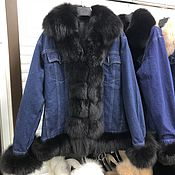 Одежда handmade. Livemaster - original item Dzhinsovka with fur from Arctic Fox black. Handmade.