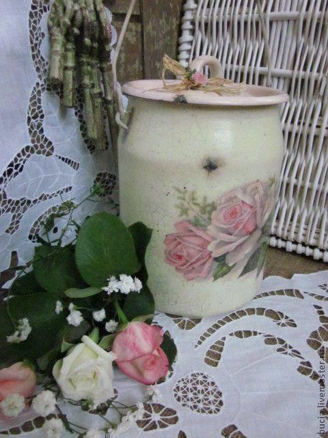 """Кухня ручной работы. Ярмарка Мастеров - ручная работа. Купить Бидон """"Розовая нежность"""". Handmade. Бледно-розовый, роза"""