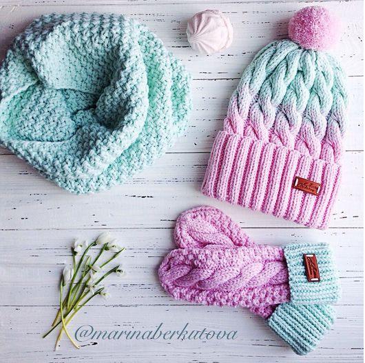 Комплекты аксессуаров ручной работы. Ярмарка Мастеров - ручная работа. Купить Мятно розовый комплект шапка варежки снуд. Handmade.