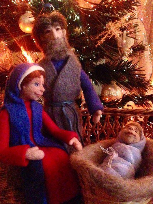 Коллекционные куклы ручной работы. Ярмарка Мастеров - ручная работа. Купить Рождественский вертеп. Handmade. Вертеп, шерсть, подарок на рождество
