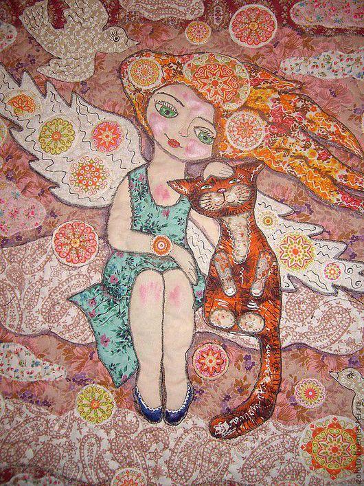 """Фэнтези ручной работы. Ярмарка Мастеров - ручная работа. Купить панно """"Ангелы тоже любят кошек"""". Handmade. Авторская работа"""