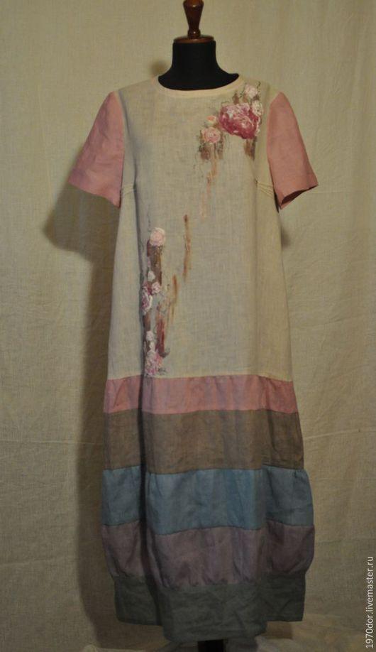 """Платья ручной работы. Ярмарка Мастеров - ручная работа. Купить Платье из льна """" Туман на рассвете"""". Handmade. Комбинированный, бохо"""