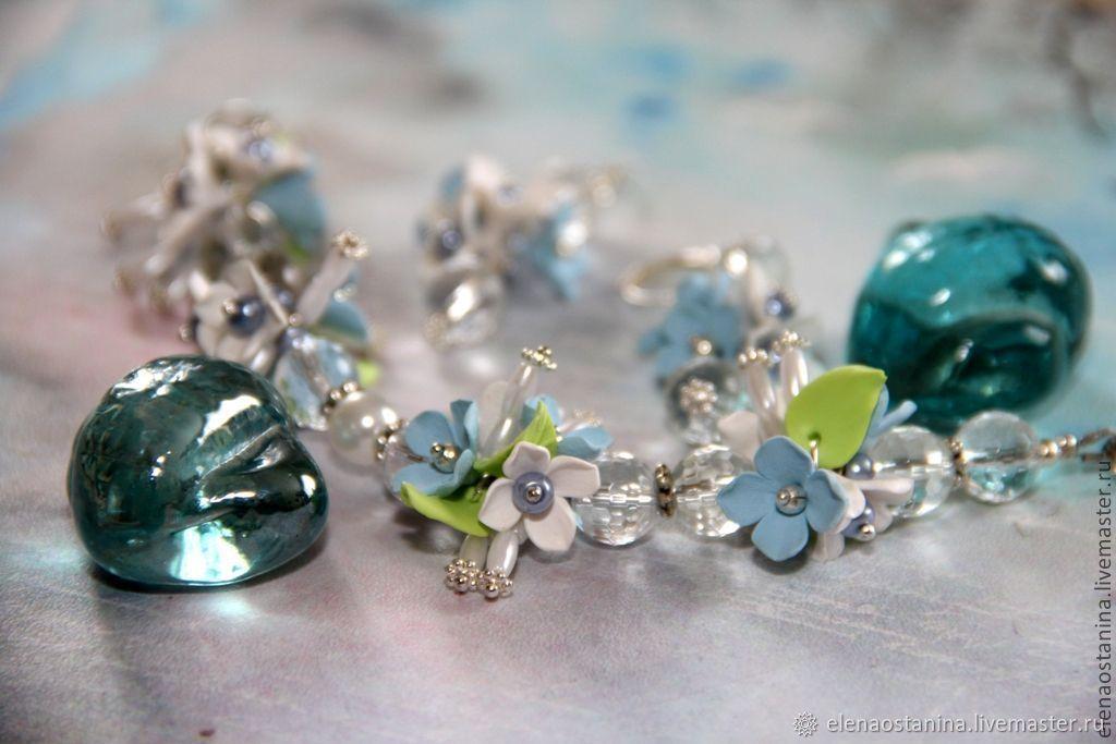 Bracelet and earrings 'snowdrops', Jewelry Sets, Ekaterinburg,  Фото №1