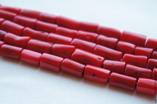 Для украшений ручной работы. Ярмарка Мастеров - ручная работа. Купить Коралл цилиндр 18х12мм. Handmade. Ярко-красный