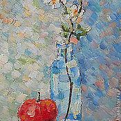 Картины и панно ручной работы. Ярмарка Мастеров - ручная работа Картина. Яблоко и цветущая веточка.. Handmade.