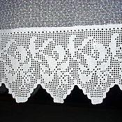 Для дома и интерьера ручной работы. Ярмарка Мастеров - ручная работа Штора с каймой, связанной филейным узором. Handmade.