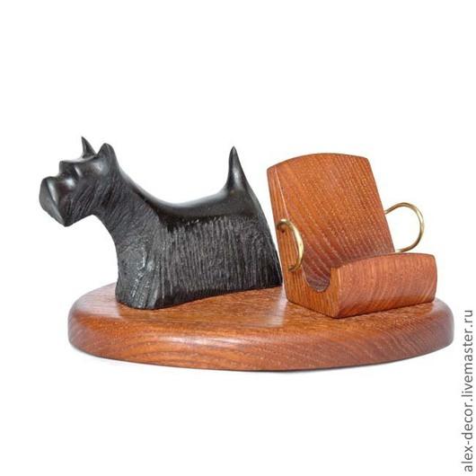 Подарки для мужчин, ручной работы. Ярмарка Мастеров - ручная работа. Купить Подставка под смартфон Scotch Terrier. Handmade. Коричневый