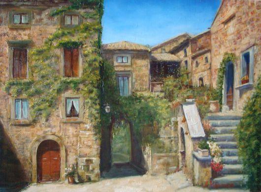 """Пейзаж ручной работы. Ярмарка Мастеров - ручная работа. Купить """"Итальянский дворик"""". Handmade. Желтый, италия, город, пейзаж, впечатление"""