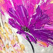 """Картины ручной работы. Ярмарка Мастеров - ручная работа Картина маслом, мастихиновая живопись """"Анемоновый импульс"""". Handmade."""