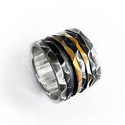 """Украшения handmade. Livemaster - original item Кольцо """"Грани"""" золото 585, серебро 925, чернение. Handmade."""