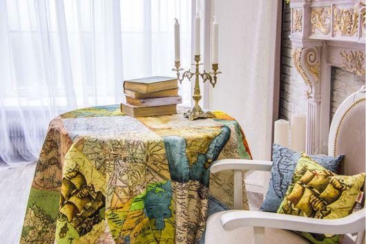 Текстиль, ковры ручной работы. Ярмарка Мастеров - ручная работа. Купить Скатерть Глобус открытий. Handmade. Разноцветный, скатерть на стол