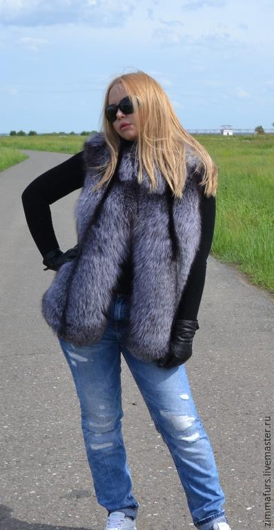 Vest fur black brown (silver) foxes, Vests, Omsk,  Фото №1