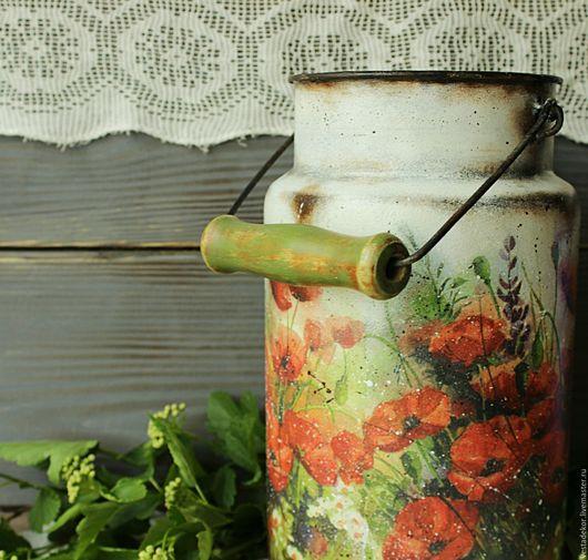 Декоративная посуда ручной работы. Ярмарка Мастеров - ручная работа. Купить Бидончик винтажный Маки для кухни и дачи в стиле кантри. Handmade.