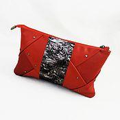 Сумки и аксессуары handmade. Livemaster - original item Clutch bag red leather Rubin,Burgundy color handbag. Handmade.