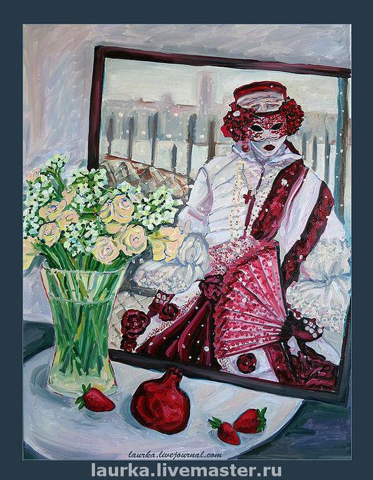 """Люди, ручной работы. Ярмарка Мастеров - ручная работа. Купить Картина """"Снег в Венеции"""". Handmade. Маска, карнавал, белый, красный"""
