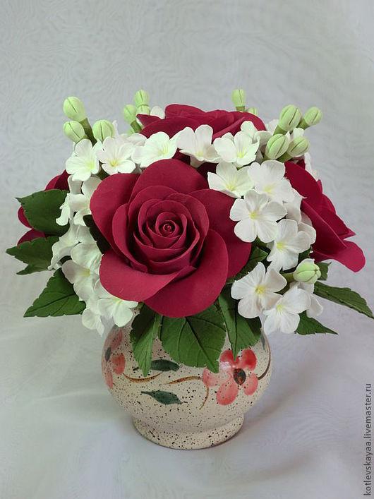 """Цветы ручной работы. Ярмарка Мастеров - ручная работа. Купить Розы и яблоневый цвет """"Дыхание весны"""". Handmade."""