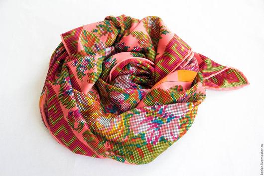 """Шали, палантины ручной работы. Ярмарка Мастеров - ручная работа. Купить Шелковый платок из ткани ETRO  """"Sur les motifs de broderie"""". Handmade."""