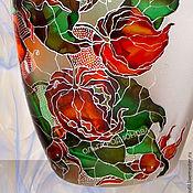 Посуда handmade. Livemaster - original item Bottle Physalis, stained glass painting. Handmade.