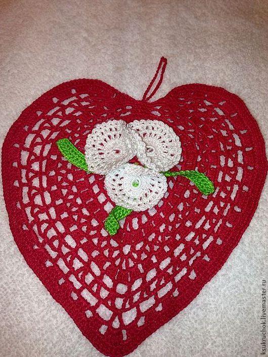 Подарки для влюбленных ручной работы. Ярмарка Мастеров - ручная работа. Купить Салфетка сердце красное. Handmade. Салфетка
