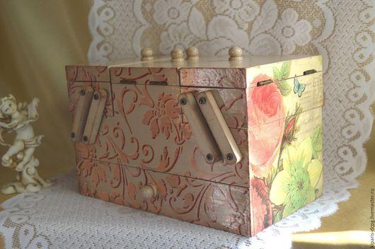 Шкатулка раскладная `Утро в саду`, декупаж, для украшений, рукоделия.