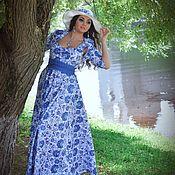 """Одежда ручной работы. Ярмарка Мастеров - ручная работа Платье длинное """"Гжель"""". Handmade."""