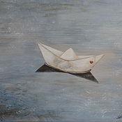 """Картины и панно ручной работы. Ярмарка Мастеров - ручная работа Панно """" Бумажный кораблик """". Handmade."""