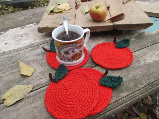 Кухня ручной работы. Ярмарка Мастеров - ручная работа. Купить Подставки под чашки Яблочки красные. Handmade. Красный, яблоки