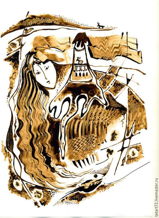 Абстракция ручной работы. Ярмарка Мастеров - ручная работа. Купить графика нефтью. Handmade. Графика авторская, бумага