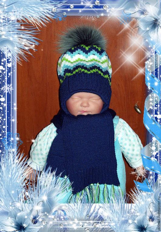 Одежда для мальчиков, ручной работы. Ярмарка Мастеров - ручная работа. Купить вязанный комплект шапка + шарф. Handmade. полушерсть