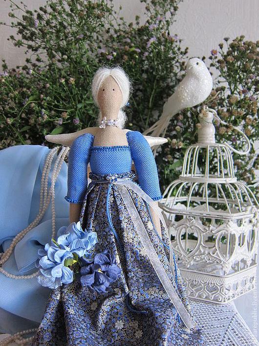 """Куклы Тильды ручной работы. Ярмарка Мастеров - ручная работа. Купить Тильда-ангел """"Утренняя прохлада"""". Handmade. Синий"""