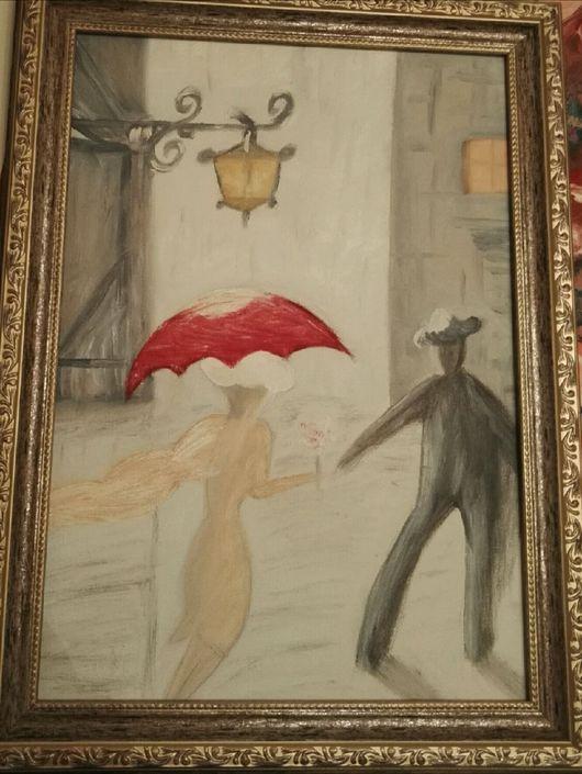"""Люди, ручной работы. Ярмарка Мастеров - ручная работа. Купить Картина """"Под зонтом"""". Handmade. Масло, холст, картина, холст"""