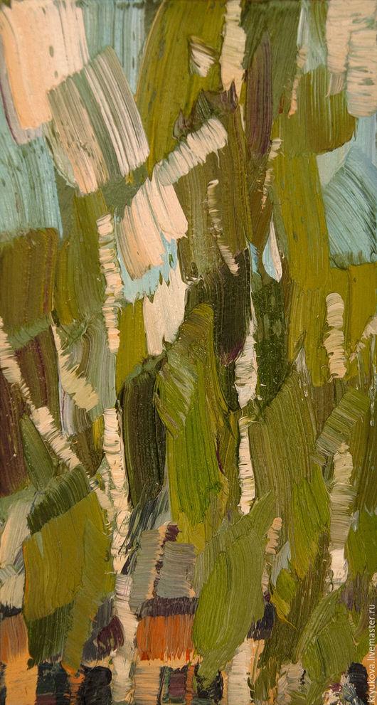 Картина маслом лето Березки шумят Картина импрессионизм Маленькая картина в подарок Лето картина пейзаж Летний пейзаж