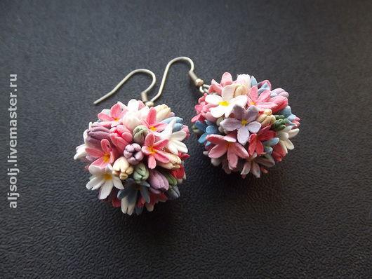 """Серьги ручной работы. Ярмарка Мастеров - ручная работа. Купить серьги """"цветение"""". Handmade. Серьги, весна, цветы, полимерная глина"""