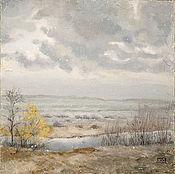 Картины и панно ручной работы. Ярмарка Мастеров - ручная работа картина Первый снег (поздняя осень, начало зимы, серый, желтый). Handmade.