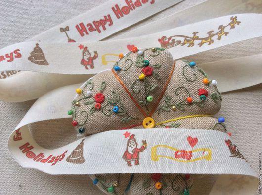 """Шитье ручной работы. Ярмарка Мастеров - ручная работа. Купить Лента хлопковая """"Новогодняя"""". Handmade. Лента, лента с рисунком"""