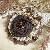 """Украшения ручной работы. Ярмарка Мастеров - ручная работа """"Либерика"""" брошь бохо коричневая кофейная цветок. Handmade."""