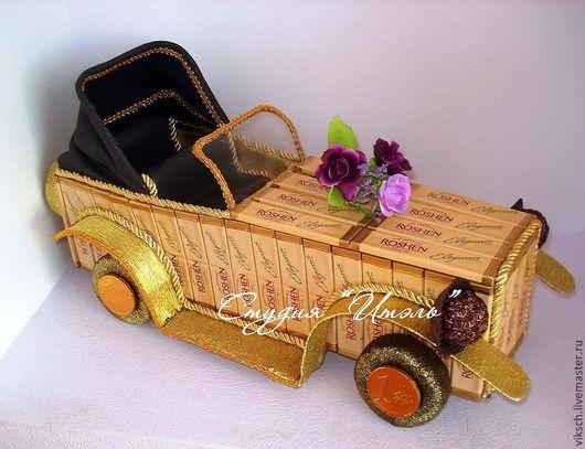 Персональные подарки ручной работы. Ярмарка Мастеров - ручная работа. Купить Ретро автомобиль (шоколадный). Handmade. Золотой, автомобиль