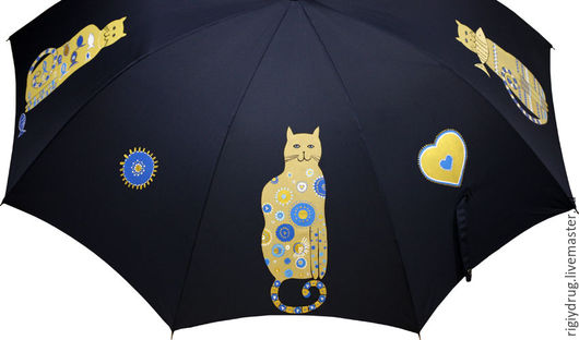 Зонты ручной работы. Ярмарка Мастеров - ручная работа. Купить Зонт с котиками. Handmade. Зонт, коты и кошки, кошечка, синий