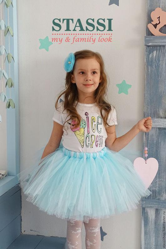 Одежда для девочек, ручной работы. Ярмарка Мастеров - ручная работа. Купить Детская пышная юбка ТУТУ бело-голубая. Handmade.